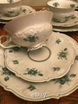 10 Cups 10 Saucers Cake plates VEB Antique Vintage German Porcelain Coffee Set