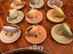 12 Cup 12 Saucer Full Set Vintage KPM Danish Copenhagen Porcelain Maleri Coffee