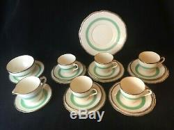 20 Piece Vintage 1930's Alfred Meakin Tea Coffee Set With Gilt Green Band Retro