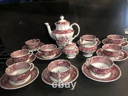 23 pc VINTAGE COPELAND SPODE CAMILLA RED VICTORIAN TEA COFFEE SET service for 9