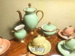 24 Cup 24 Saucer Set Rare Vintage Danish Copenhagen Porcelain Maleri Coffee Set