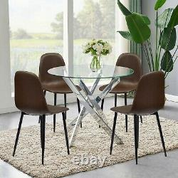 2 4 6 Retro Dining Chairs Faux Leather Black Metal Legs Kitchen Living Room Sets