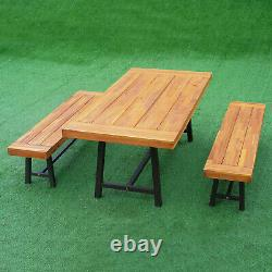 3 Pieces Tea Table Set Coffee Bench Vintage Dining Acacia Wood Picnic