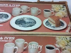 3 Sets Factory Boxes VTG Currier & Ives Royal China Coffee Saucer 9 Piece Cake