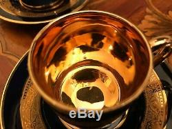 6 Cups 6 Saucers Vintage French Limoges France Porcelain Gold plated Coffee Set