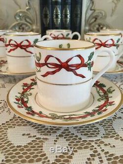 6 Holly Ribbons Coffee Cans -Royal Worcester Coffee Set -Vintage China With Bows