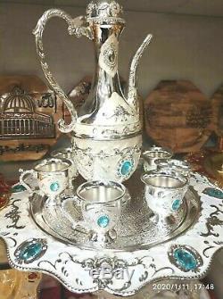 8 Pcs Vintage Brass Copper huge Pot Dallah Tray Big Coffee set Arabic islamic