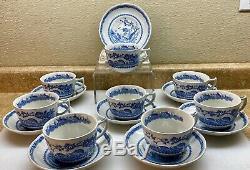 8 Sets COFFEE / TEA CUPS & SAUCERS VTG MASONS BLUE QUAIL TRANSFERWARE
