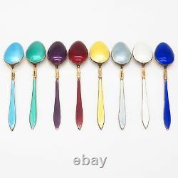 925S Sterling Vintage Norway David-Andersen Set of 8 Enamel Coffee Spoons