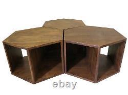 ARTEMIS Hexagonal Set of 3 Coffee Table Acacia Wood Side End -WNT09
