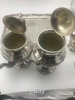 Academy 5 PIECE VINTAGE SILVER ON COPPER TEA COFFEE SET GRAPE & VINE