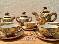 Antique Coffee Set / Antiguo juego de café en porcelana Satsuma. VINTAGE