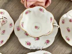 Antique Foley Dainty Rose Coffee Set for 6 Vintage China Cups Saucers Shelley
