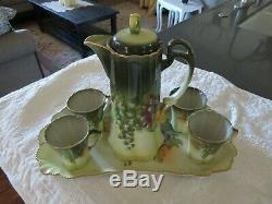 Antique Vintage BAVARIA Limoges Cocoa Coffee Set 6 Piece Set HAND PAINTED SIGNED