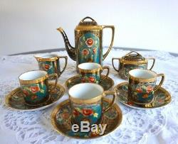 Antique / Vintage Noritake Porcelain Coffee Set with 4 Coffee Cans Cups 11 pcs