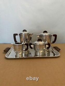 Art Deco tea coffee set silver plated metal argenté service thé café vintage