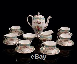 Beautiful Vintage Foley Windsor Blue Coffee Set for 6 persons