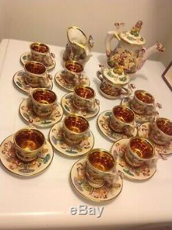 Capodimonte Tea/coffee set for 12. Vintage 1950-s. Italy