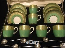 Cauldon Coffee Set With Six Epns Coffee Spoons In Original Vintage Case