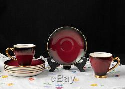 Demitasse Coffee Set Superbe Burgandy Empireware England Vintage Art Deco