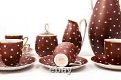Dotty brown vintage 6 person art deco Freiberger eggshell porzelan