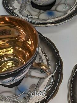 Dragonware Moriage Vintage Tea Coffee Set Mid 20th Century Japan