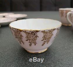 Elegant Pink & Gold Rare Vintage 1947 Adderley English Bone China Tea Coffee Set