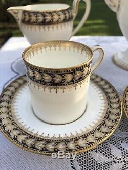 Elegant Vintage Wedgwood Bone China Coffee Set, Blue, White & Gold