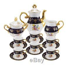 Euro Porcelain Premium 17-pc Dark Cobalt Blue Tea Cup Coffee Set, Vintage Floral
