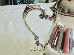 Exquisite Elegant Vintage Silver Plated Tea / Coffee Set W / Tray Rodd Unused