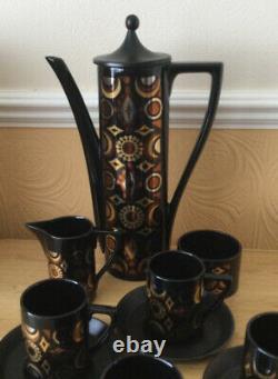 Fabulous Vintage Portmeirion Arabian Brocade Coffee set c1968 11 pieces