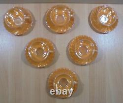 Fire King Ware Peach Luster Vtg Set Of Six Tea / Coffee Cups With Saucers