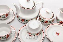 Floral 6 person tea serving Vintage Hollohaza porcelain'70s Hungary