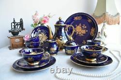 Germany 22 Pc Vintage Bareuther Echt Cobalt Bavaria Porcelain Coffee Set 6 Cups