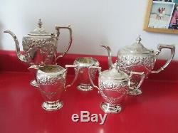 Great Vintage 5 pc Solid STERLING COFFEE &TEA SET HAND DECORATED NO MONOG