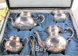 HEAVY Vintage 950 STERLING FULL TEA COFFEE SET 5 Piece + Tray = 10 POUNDS Silver