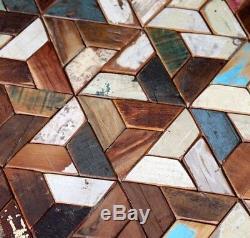 Industrial Coffee Table Vintage Retro Furniture Side End Metal Solid Wood Set 3