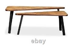 Industrial Style Coffee Table Set Of 2 Vintage Retro Furniture Wood Steel Legs