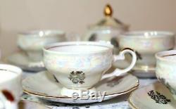 Kahla Porcelain gold trim Madonna coffee set GDR vintage Germany Fine China
