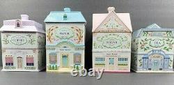 Lenox Spice Village Canisters Flour Sugar Coffee Tea Set Vintage 1990 Jar Holder