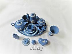 Miniature Tea Coffee set plus extras Wedgwood Blue Jasper Vintage