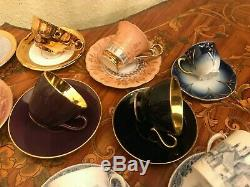 Mixed Vintage German English Danish 18 Cups & 19 Saucers Coffee Set