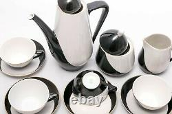 Monochrome 6 person coffe set Vintage Hollohaza porcelain Hungary'60s