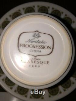 NORITAKE (JAPAN) Progression Retro VTG 70s Full Coffee Set 17 Pieces Arabesque