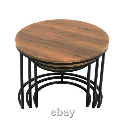 Nest of 2/3 Table Set Metal& Wood Coffee Side Hall Console Table Living Room Set