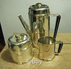 PM Italy Vintage Mid Century Modern Silver Gold Plate Coffee Tea Set with Tray