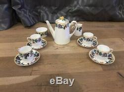 Paragon Star Yellow Rose Handle Coffee Set Beautiful Vintage China Art Deco