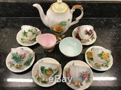 Paragon coffee set Harry Wheatcroft World famous roses vintage tea