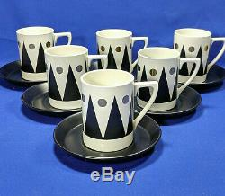 Portmeirion GOLD DIAMOND 15 Piece Cylinder Coffee Set UNUSED Rare Vintage 1960s