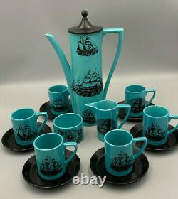 Portmeirion Vintage Sailing Ships Blue 15 piece Coffee Set